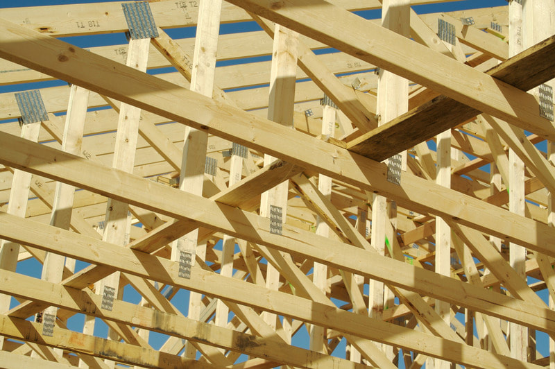 Framing of the roof during one of our local garage building projects.